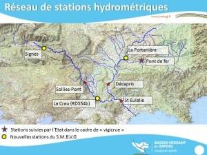 Réseau des stations hydrométrique du bassin versant du Gapeau